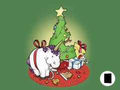 Fat Holiday Unicorn Greeting Cards