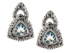 18kt Gold Triliion Blue Topaz Earrings