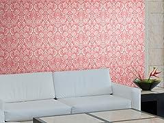 Floral Diamond Damask Pink Tiles