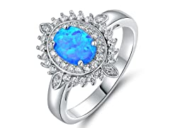 Oval Cut Lab Created Blue Opal Ring
