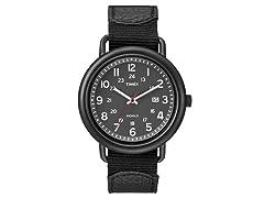 Men's Leather/Nylon Slip-Through Watch