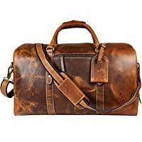 Deals on Leather Overnight/Weekend Carry-On Bag