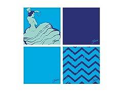 Fiesta Blue Dancing Chevrons Coasters
