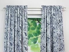 Paisley Rod Pocket Curtain Panel - Blue - 3 Lengths
