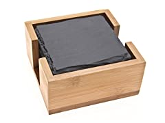 Slate Coasters with Bamboo Holder- 6