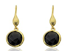 Riccova Brushed 14K Gold Plated Earring, Black