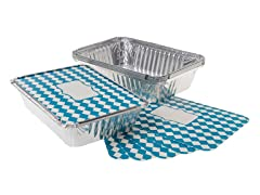 """8.5""""x6"""" Aluminum Baking Pans with Lids - Set of 6"""