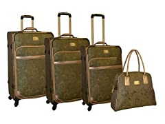 Paisley Jacquard 4-Piece Luggage Set