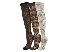 "MUK LUKS ® Women's ""Brown"" 3 Pr-Pk Over the Knee Sock"