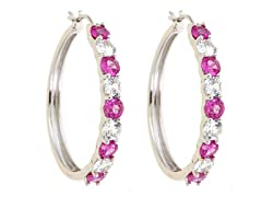 Created White Sapphire & Created Pink Sapphire Hoop Earring