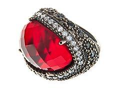 SS Oval Dyed Ruby Genuine Semi-Precious Gemstone CZ Ring