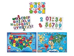 Melissa & Doug Maps and ABC 123 Peg Puzzle Bundle