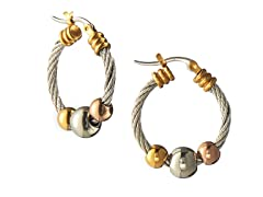 Stainless Steel Cable 2-Tone With Balls Hoop Earrings