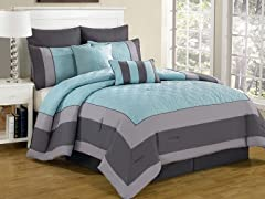 Spain Hotel Online 8 Piece Quilted Comforter Set- Queen