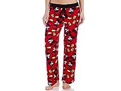 Disney Women's Mickey Mouse Angel Fleece Pant, Red