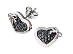 SS Bow Heart Diamond Accent Studs
