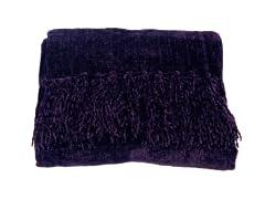 Susan Chenille Throw - Purple