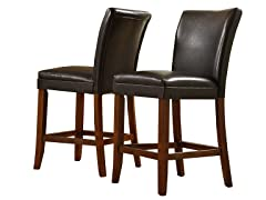 """24"""" Faux Leather Parson Stool - Set of 2"""