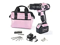 WORKPRO Pink Cordless Drill Driver Set
