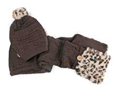 Muk Luks Pom Beanie with Pocket Scarf, Brown