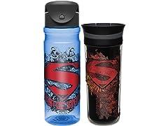 Super Man Comic Drinkware - Set of 2