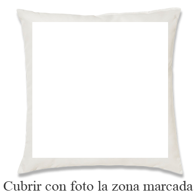 REGALPRIX Cojin Personalizado con Tus Fotos. Forma Cuadrada, Bordes y Fondo Blanco, Estampado a una Cara - 40 x 40 cm.