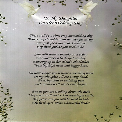 Amazon Com To My Daughter On Her Wedding Day Poem
