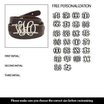 amazoncom leather wrap monogram bracelet custom made