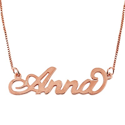 Personalized Name Necklace - Custom Made Any Name 18k Rose Gold Plated G7Mq3Qd3bx