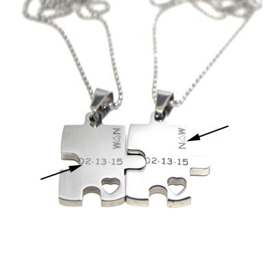 Puzzle piece necklace set engraved puzzle couples gift set error message aloadofball Gallery