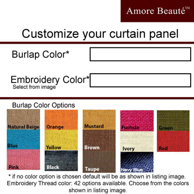 Amazon.com: Amore Beaute Handcrafted Burlap Curtain In Ivory With ...