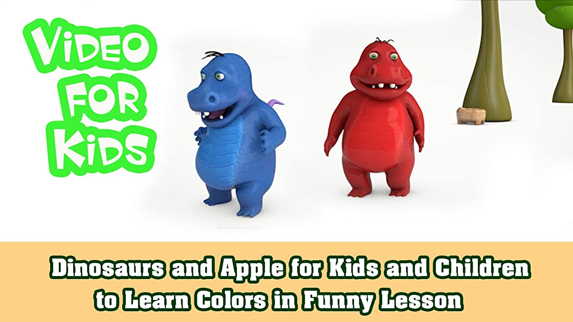 Dinosaurs and Apple for Kids and Children to Learn Colors in Funny Lesson