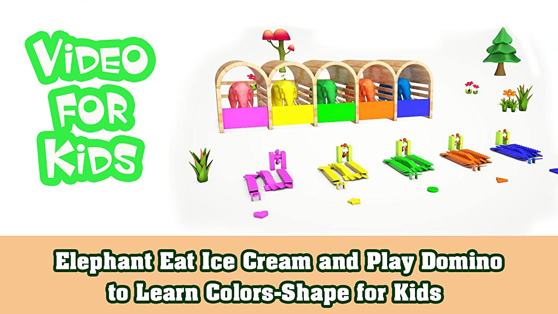 Elephant Eat Ice Cream and Play Domino to Learn Colors-Shape for Kids