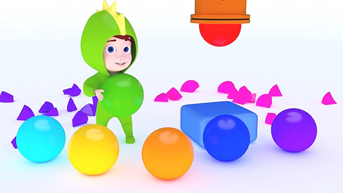 Learn Colors Orang, Brown, Purple for Children with Giant Balls Marbles for Kids