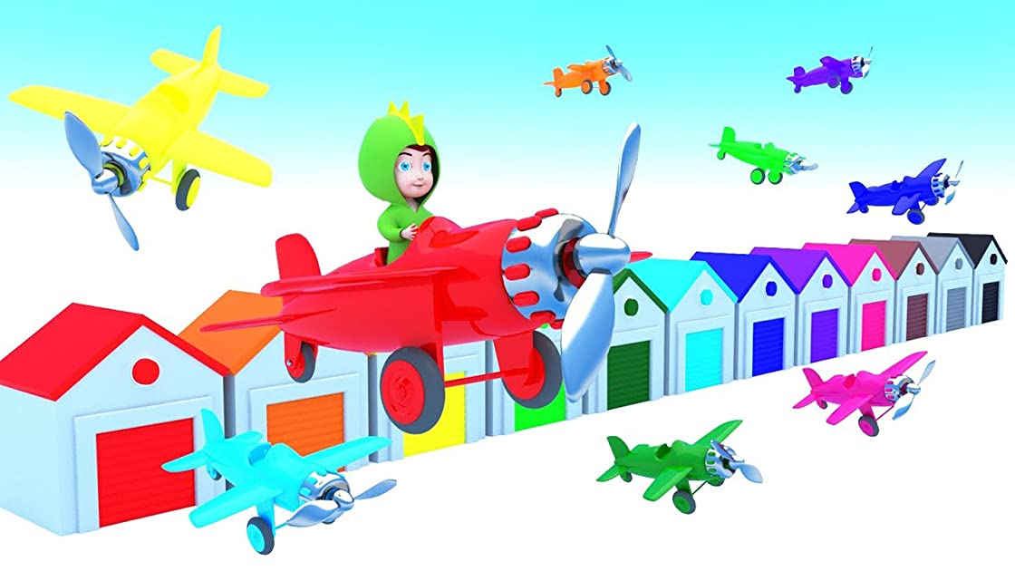 Babies and Airplane to Learn Colors with Dino Kids