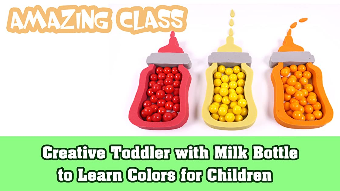 Creative Toddler with Milk Bottle to Learn Colors for Children