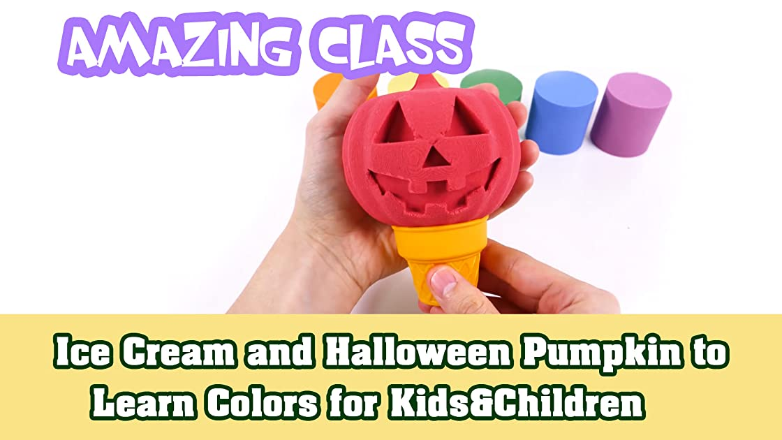 Ice Cream and Halloween Pumpkin to Learn Colors for Kids & Children