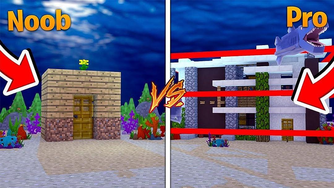 Watch Clip Noob Vs Pro Minecraft Secret Underwater Base Challenge With Tiny Turtle Prime Video