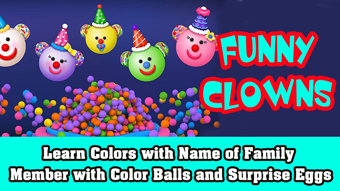 Learn Colors with Name of Family Member with Color Balls and Surprise Eggs
