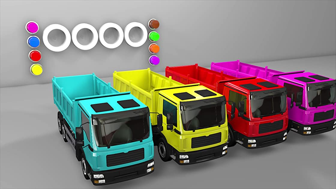 Amazing Colorful video with Soccer Balls and Dump Trucks for Child