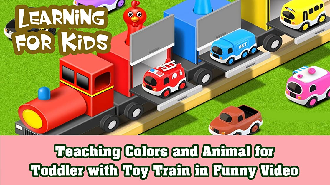 Teaching Colors and Animal for Toddler with Toy Train in Funny Video
