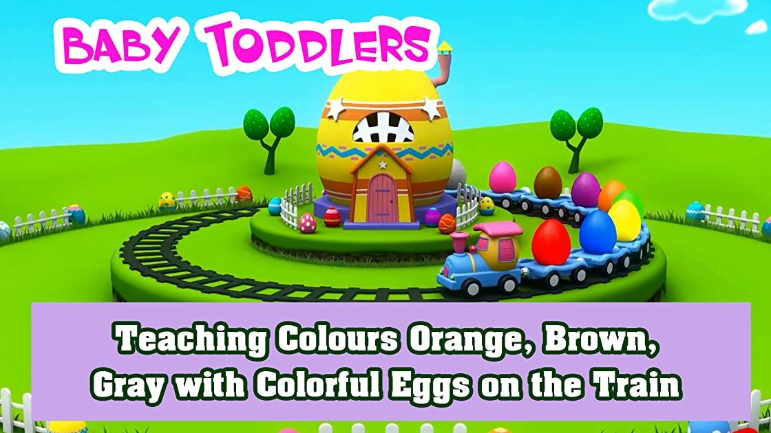 Teaching Colours Orange, Brown, Gray with Colorful Eggs on the Train