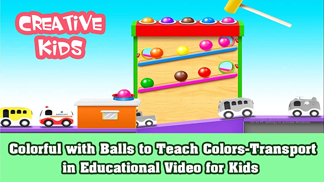 Colorful with Balls to Teach Colors-Transport in Educational Video for Kids