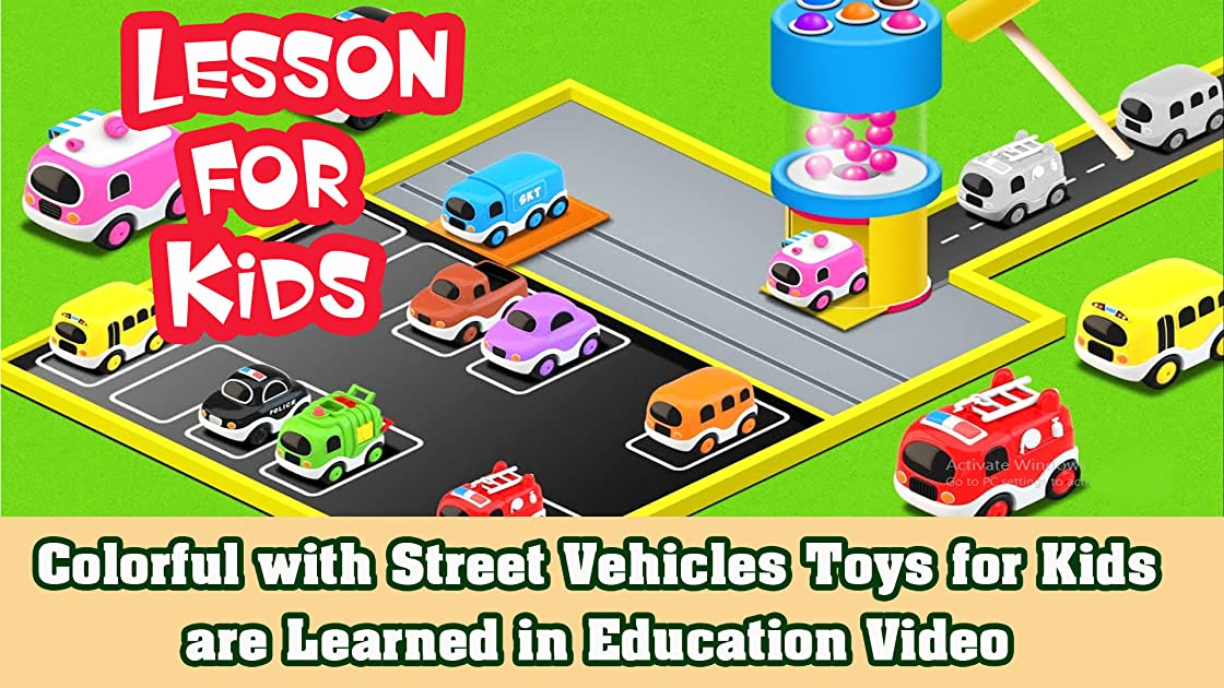 Colorful with Street Vehicles Toys for Kids are Learned in Education Video