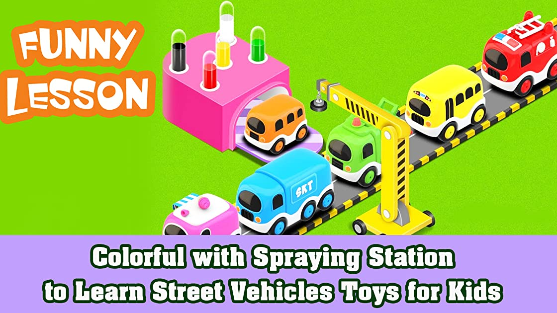Colorful with Spraying Station to Learn Street Vehicles Toys for Kids