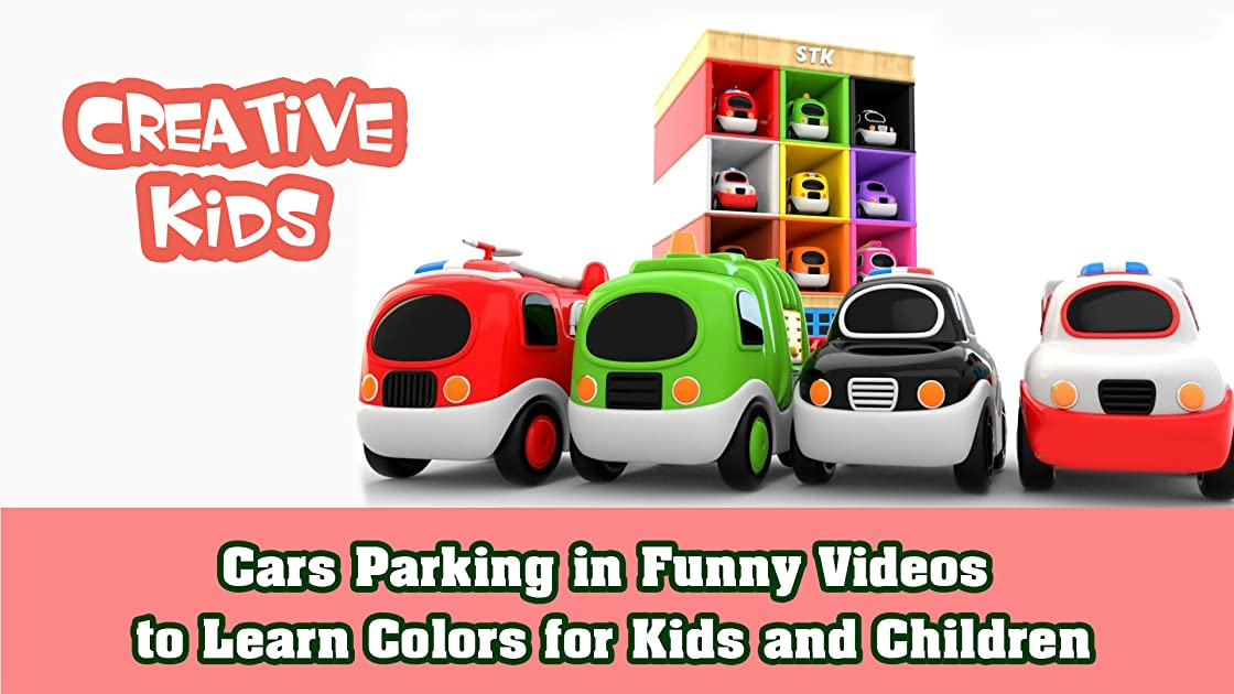Cars Parking in Funny Videos to Learn Colors for Kids and Children