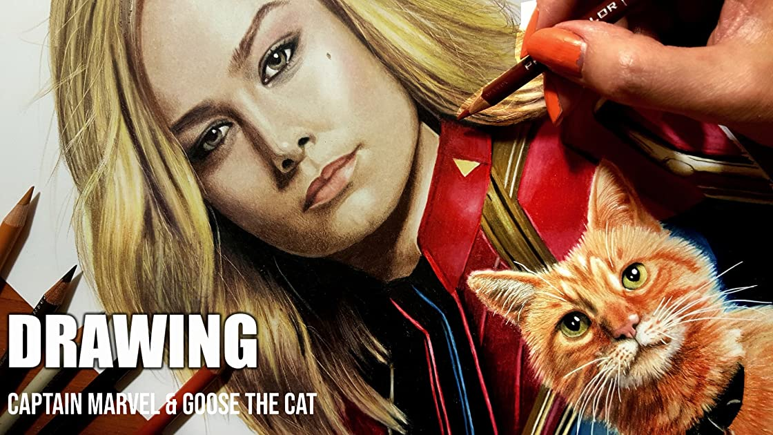 Clip: Drawing Captain Marvel & Goose the Cat