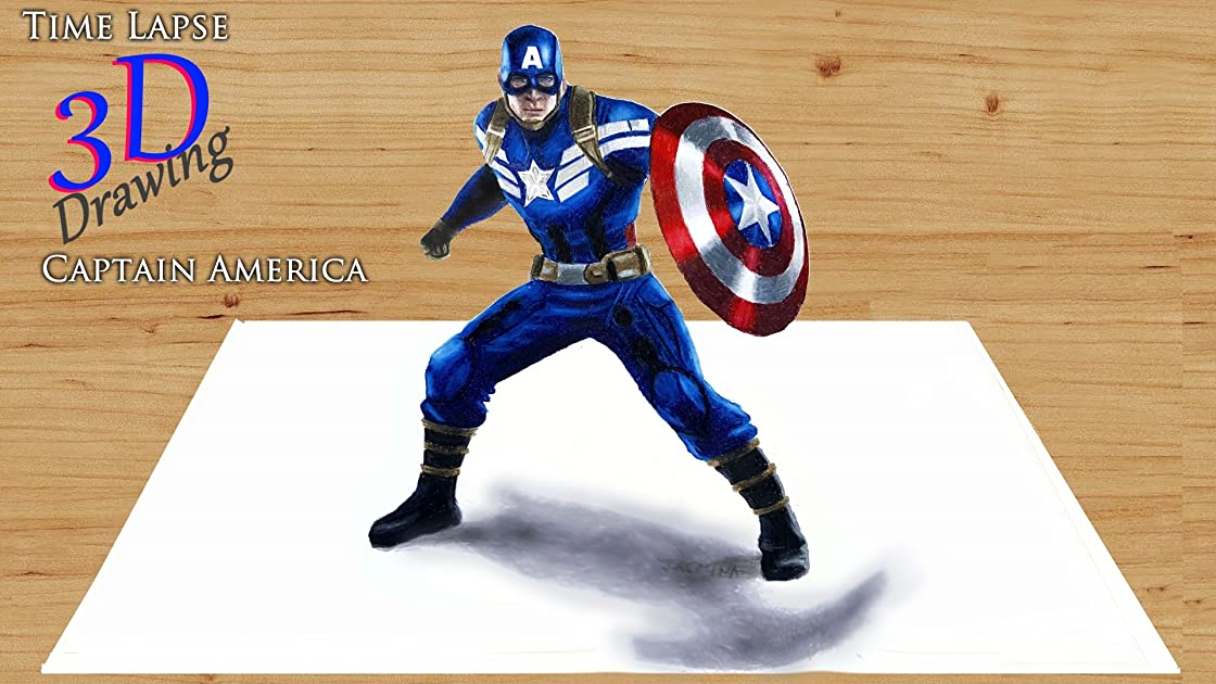 Clip: Time Lapse 3D Drawing: Captain America