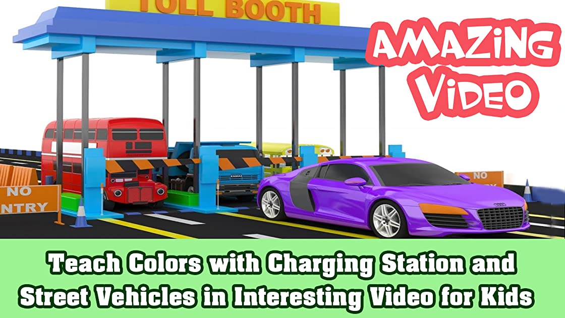 Teach Colors with Charging Station and Street Vehicles in Interesting Video for Kids