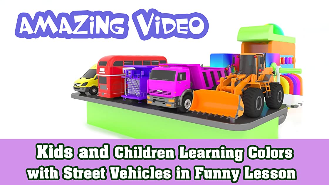 Kids and Children Learning Colors with Street Vehicles in Funny Lesson
